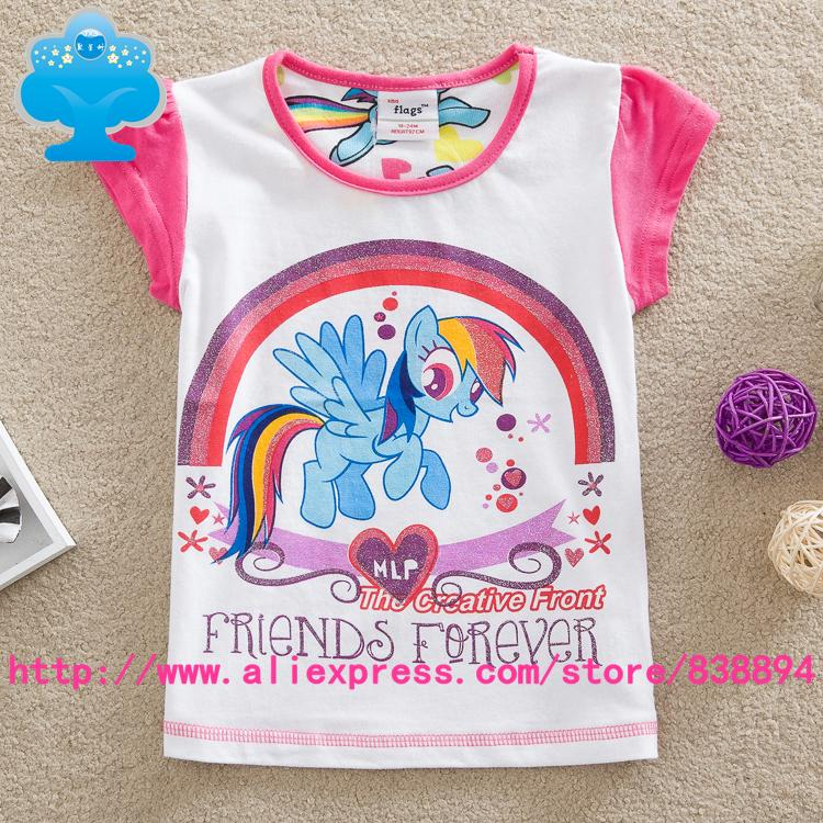 flags 5pcs/lot 18m-6y Years Cute kids Cotton Costume, cartoon anime figure  for girlmy little pony T-shirts summer Clothes G6123<br><br>Aliexpress