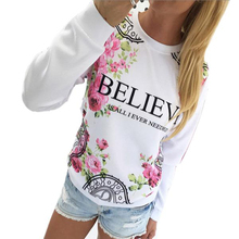 Brand new Women Floral Print Sweatshirt Hoodies Long Sleeve Loose Blouse Plus size S-XL Hot sale 2016