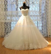 Vestido de noiva Princess Tube Top Beading Bride Wedding Dress 2016 Plus Size Wedding Gown Custom-made(China (Mainland))