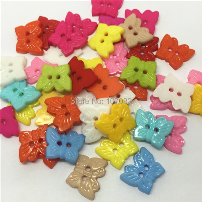 Free Shipping!1000pcs/lot 16*13mm Baby Cartoon Buttons Butterfly Shape Button Plastic Sewing Accessories Button For Scrapbooking
