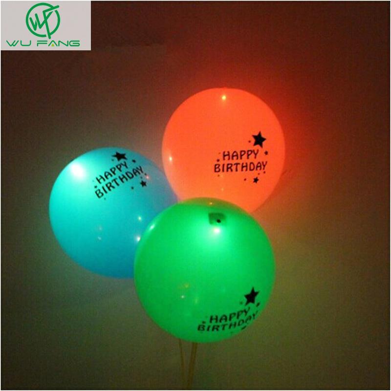 2016 Baby Shower 12inch Happy Birthday Flash Illuminated Led Balloons Glow In The Dark Sky Lanterns Decoration Valentine's Day(China (Mainland))