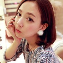 Fashion real mink leather about 30mm round mink fur ball silver earring for women(China (Mainland))