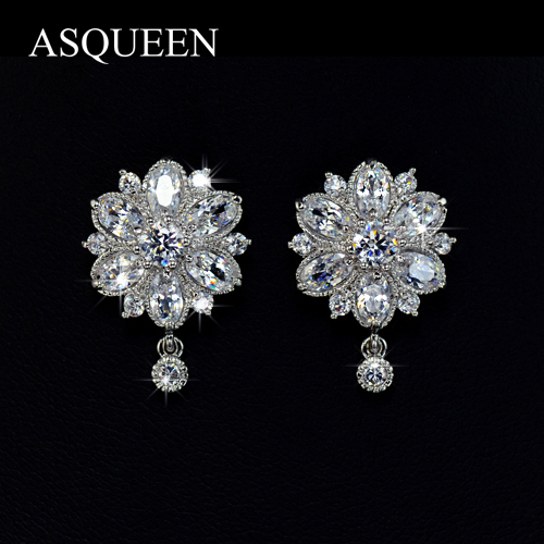 UMODE White Gold Plated Luxury Marquise cut AAA+ Cubic Zirconia Diamonds Flower Stud Earrings For Women Silver Jewelry UE0022<br><br>Aliexpress