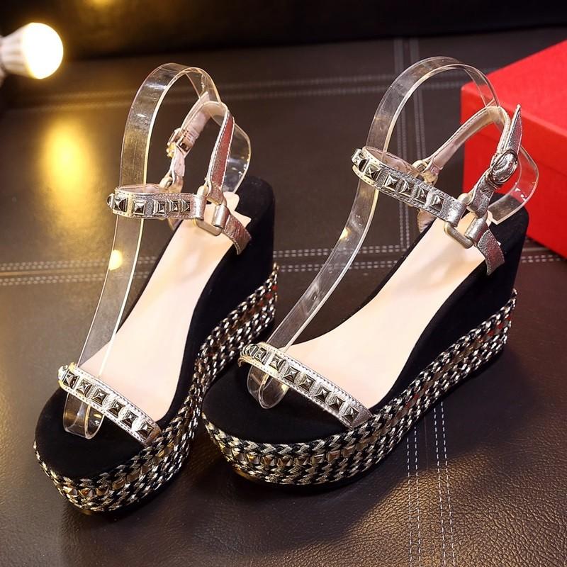 Sheepskin Wedding Women Bohemian Sandals 2016 Fish Mouth Roman Style Nubuck Leather Sandals Section Fish Head Rivet Wedges 34-39