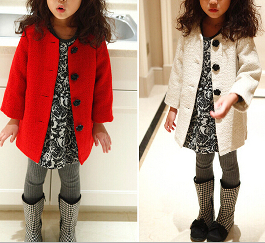 New autumn girl coat baby girls flower Buttons jacket children outwear clothing, warm kids winter clothes jacket for girls(China (Mainland))