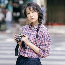 INMAN Женская Осенняя новая клетчатая хлопковая рубашка с левым плечом рубашка с длинным рукавом(China)