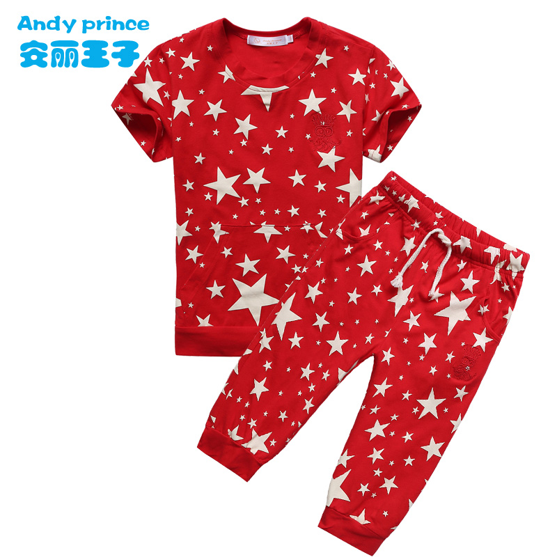 boy girl child summer set pattern o-neck short-sleeve T-shirt trousers twinset casual clothes - Sexy Girl's Ligerie Store store