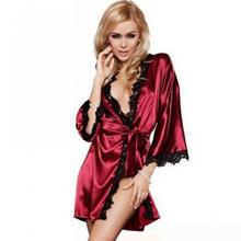 Foreign Trade Spot Factory Wholesale Sexy Lace Edge Home And Bath Robe Pajamas Suit 7041 Brand Good Quality Bathrobe Women(China (Mainland))