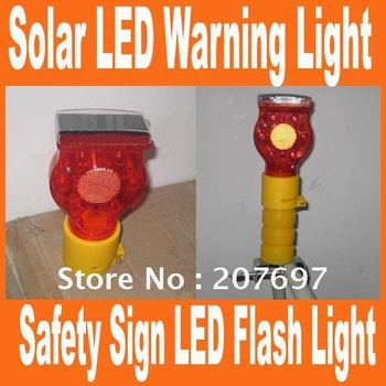 Free shipping Solar Warning light, solar sign lamp, Safety Sign LED Flash Light For Traffic