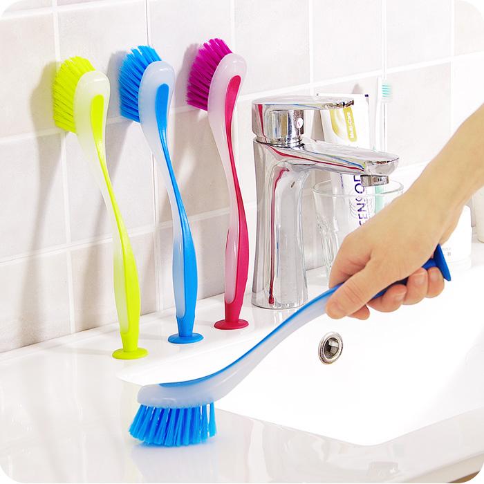 Color Vertical Multifunctional Long Handle Brush Cleaner Kitchen Sucker Formula Sink Clean Pot Brush Washing Brush Kitchen Tool(China (Mainland))
