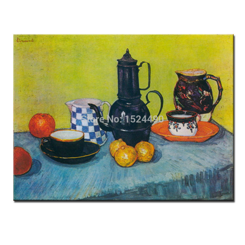 Enamel Coffeepot,Earthenware And Fruit Of Vincent Van Gogh Hand Made Reproduction Oil Painting On Canvas Wall Art For Home Decor(China (Mainland))