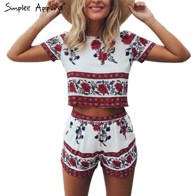 Simplee Одежда Элегантный комбинезон комбинезон из двух частей костюм Boho chic цветочные ...