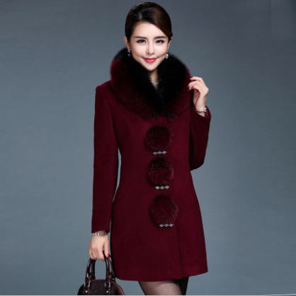 Desigual Fur Collar Winter Coat Women 2015 Slim Covered Button Long Wool Coats Manteau Femme Abrigos Mujer Plus Size