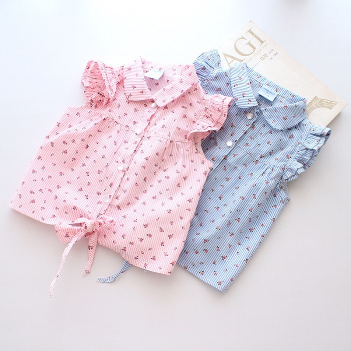 2016 new style spring baby boys girls shirts short sleeves cotton kids blouses dot flower pattern boy clothes age 2-6t(China (Mainland))