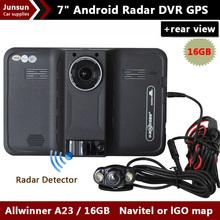 New 7 inch Android GPS Navigation rear view Car Anti Radar Detector Car DVR 1080P Truck vehicle gps Navi AVIN/FM/Free map 16GB