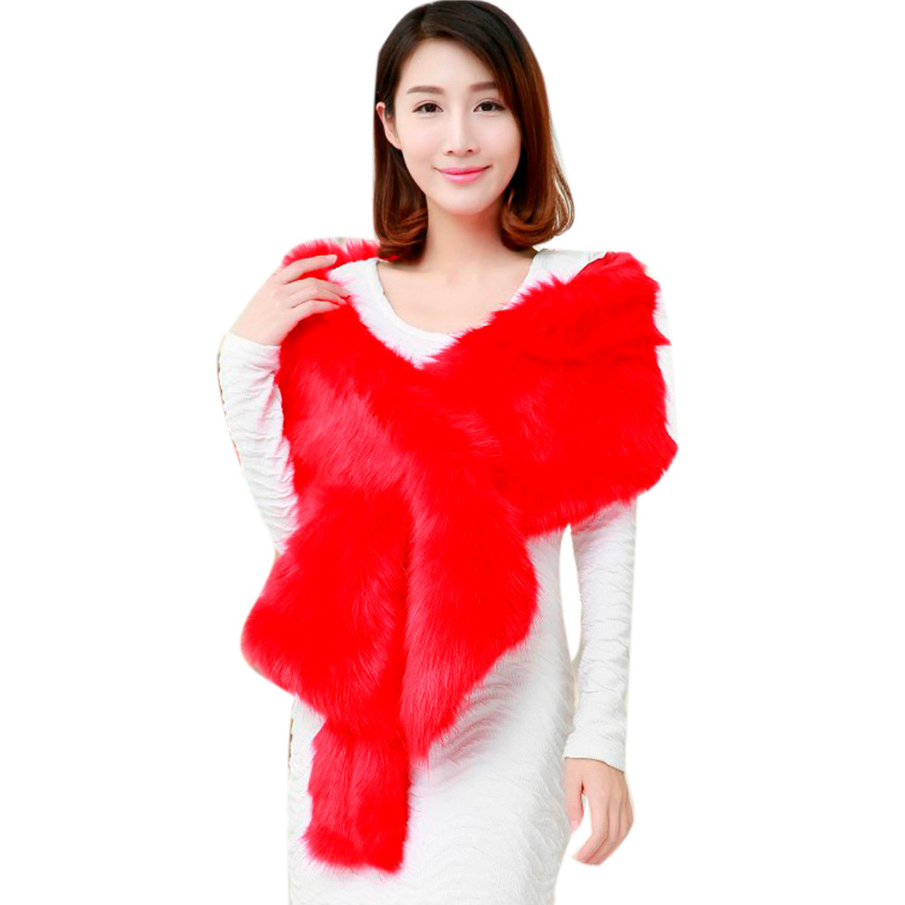 Good Deal New Fahsion Wedding Party Long Fur Shawl Thick Faux Fur Scarf Imitated Fox Fur Cape Winter Women Warm Scarves Gift 1PC