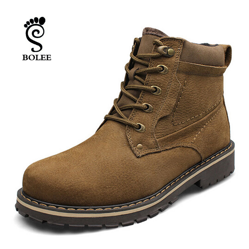 Hot Selling Winter Protection -40 Men's Snow Boots 100% Genuine Leather Boots Big Size Waterproof Rubber Winter Boots