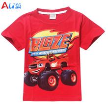 Blaze Monster Machines Clothing Children T Shirts Fit 2016 Summer Boys Kids Short Sleeve Tees Cotton Baby Clothing Boys T-Shirts(China (Mainland))