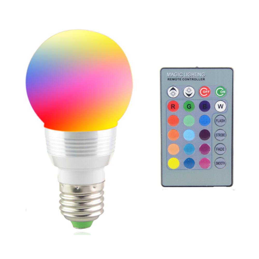2016 New 7W RGB LED Bulb E27 85 265V RGB Lampada LED Light 220V 120V Led Spotlight Lamparas LED     -> Lampada Led Rgb