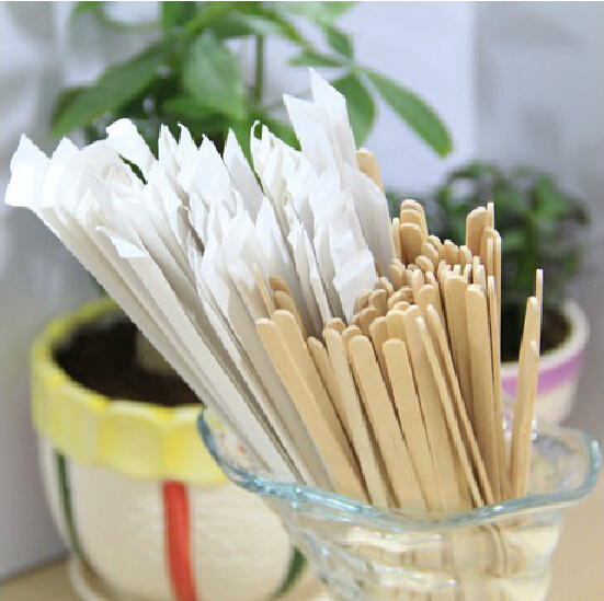 14cm 500 PCs With paper sleeve Wooden Long handle Coffee Beverage Stirring rods A one-time Health Party Office coffee shop(China (Mainland))