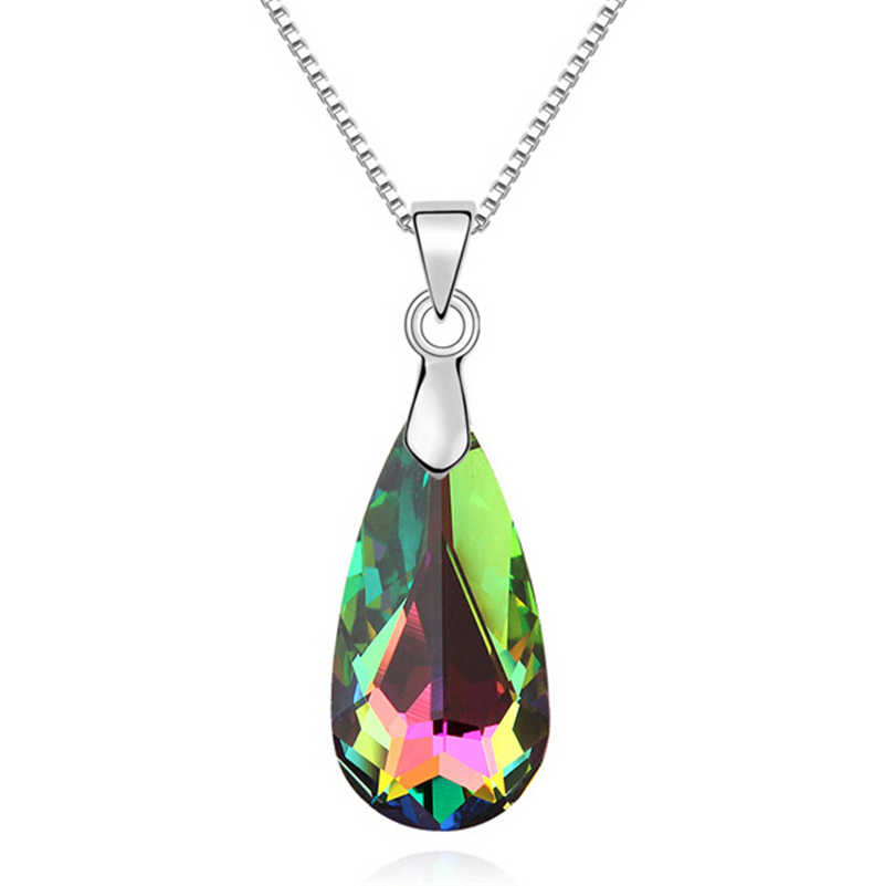 Crystal from Swarovski Necklace 2015 New Teardrop Necklace Pendants 18K White Gold Plated Fashion Jewelry Women Gift 10758(China (Mainland))