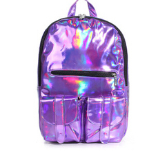 FLYING BIRDS! Women Promotion Silver Hologram Laser Backpack men's Bag leather travel pu bag Multicolor Silver Zipper  LS5488(China (Mainland))