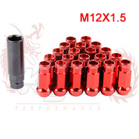 KYLIN STORE - MT SR48 Auto Steel Acorn Rim Extended Open End Wheel Racing Lug Nuts With One Key 12X1.5 20pcs
