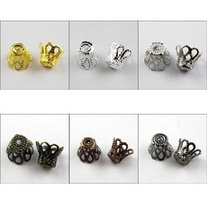 Free Shipping 250Pcs Wine Class Flower End Bead Caps7x8mm Gold Silver Bronze Copper Black etc.(China (Mainland))