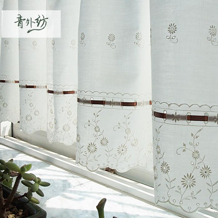 Compre pastoral bonito de algod o bege - Telas bordadas para cortinas ...