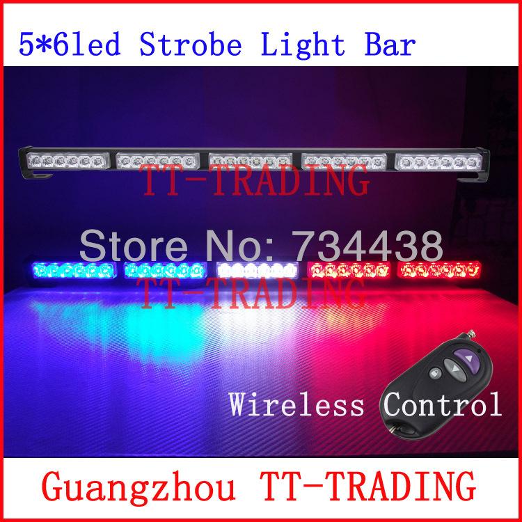 Wireless control Car Strobe Light bar 30 LED Police warning Lights emergency strobe lights DC 12V 30inch red blue white amber(China (Mainland))