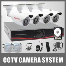 SUNCHAN HD 720P AHD M CCTV System 4CH 1080P HDMI Out DVR Kit 4 1200TVL Outdoor