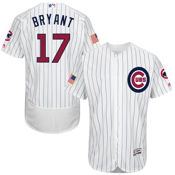 Kris Bryant Chicago Cubs 2016 MLB Authentic Fashion Stars & Stripes Flex Base Jersey - White Throwback Baseball Jerseys(China (Mainland))