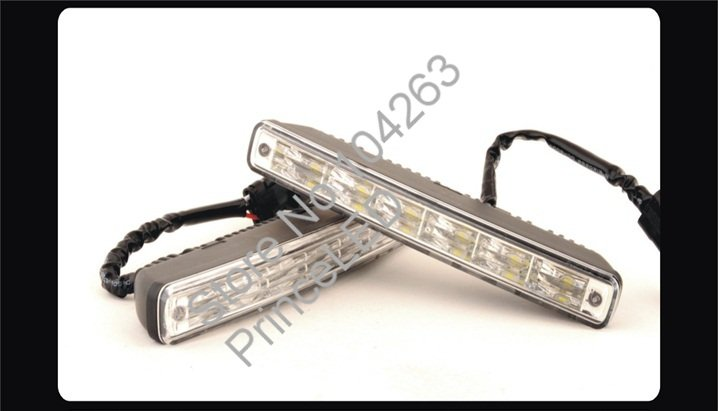 Фотография High Power New  DRL 2 * 6 LED White LED Daytime Running Light Aluminium with multi-function control box free shipping  E1