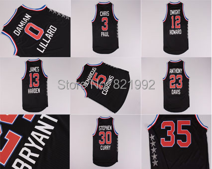 Free Shipping 2015 All Star Men's Western Black Color Basketball Jerseys,Top Quality,Wholesale Cheap All of Players(China (Mainland))
