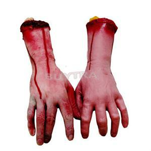 2014 New SH Brand Lifesize Human Arm Hand Bloody Dead Body Parts Party Supplies Halloween Prop HS(China (Mainland))