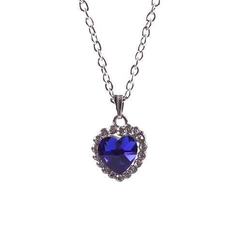 New 2014 Titanic Blue Crystal Heart of Ocean Bling Rhinestone Pendant Necklace #42001(China (Mainland))