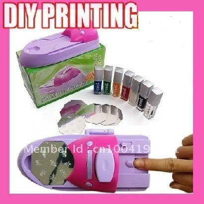 Freeshipping Nail Design DIY Nail Art Stamping Printing Machine + Polish & Template Pink + Purple Color  Nail Painting Machine