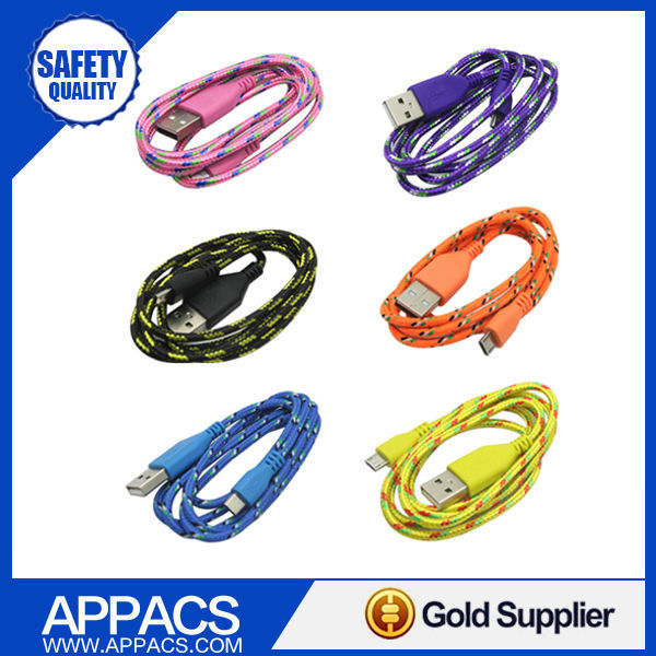 APPACS New 3ft/1M Braided Micro USB Cable Coiled Charger Data Sync Cable Cord For Samsung Galaxy Cell phones 9 Colors Available(China (Mainland))