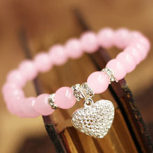 2015 High quality Pink Crystal 925 sterling silver Heart Bracelets & bangle for Women Fashion 7MM Beads Gift Jewelry Wholesale(China (Mainland))