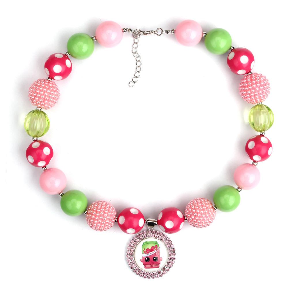 2pcs shopkins strawberry shortcake chunky necklace cupcake for Strawberry shortcake necklace jewelry