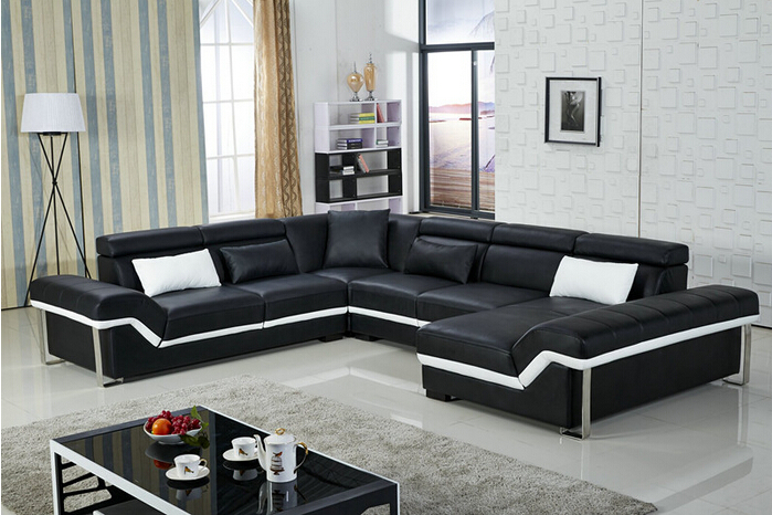 Lizz home furniture living room leather couches u shape for Living room group sets