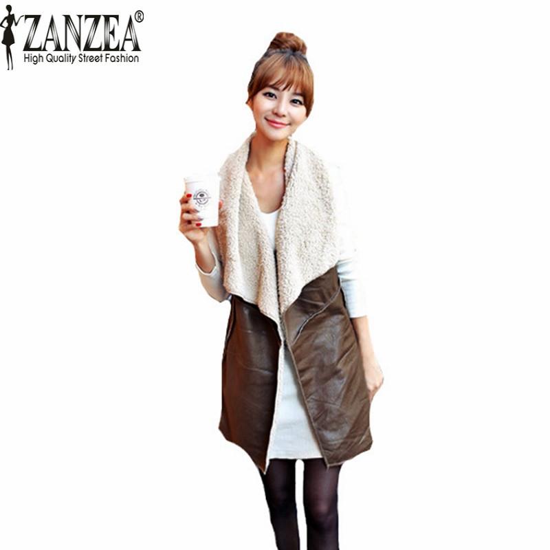 Zanzea Hot Sale 2016 Winter Women Lady Leisure Fashion Warm Faux Fur Collar Vest Long Leather Waistcoat Coat Outerwear Brown(China (Mainland))