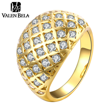 VALEN BELA Oval 18K Gold Plated Anel Engagement Ring Zircon Anelli Donna Vintage Rings JZ5211