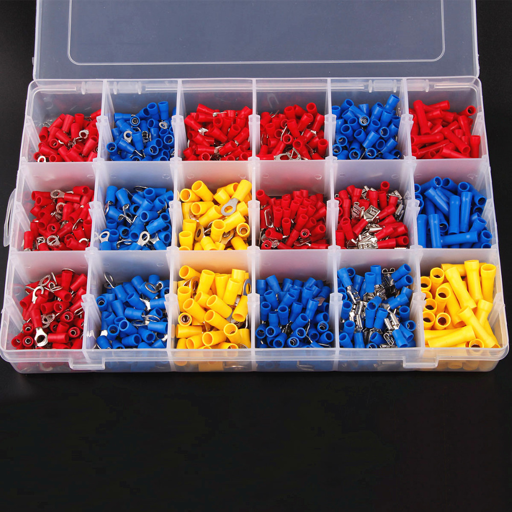 1200Pcs Assorted Insulated Spade Cable Connector Crimp Electrical Wire Terminal Set Red Blue Yellow(China (Mainland))