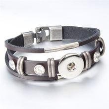 Moda Charms skórzane Snap bransoletka czarny brązowy Retro ręcznie pleciony bransoletki Fit 18 przyciski zatrzaskowe mm biżuteria hurtowych ZE546-(China)