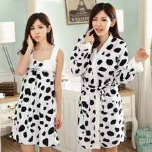 CH100 Flannel cow pattern women robes+ dress set / bathrobe sleep coat full sleeves winter useing carton(China (Mainland))