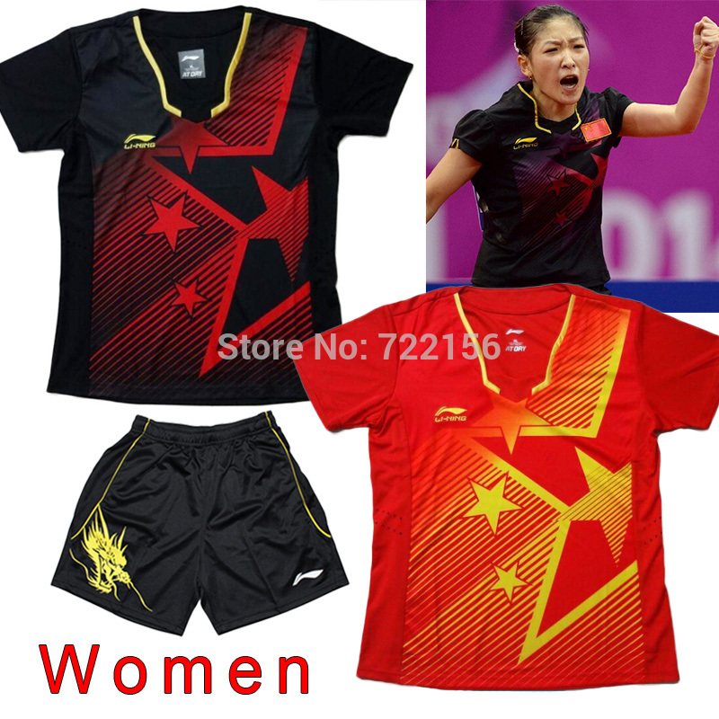 "Without ""CHINA"" Li-Ning table tennis clothes Women , Li-ning table tennis women's shirts , table tennis clothing woman(China (Mainland))"