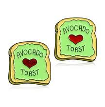 """Kartun Lucu Hijau Roti Toast Slice Bros Dicetak dengan """"Avocado Toast"""" Merah Mengkilap Jantung Pola Lencana Hadiah Pasangan(China)"""