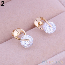 Women's Jewelry Gift Gold Plated Zircon Crystal Earring Eardrop Earbob Ear Studs