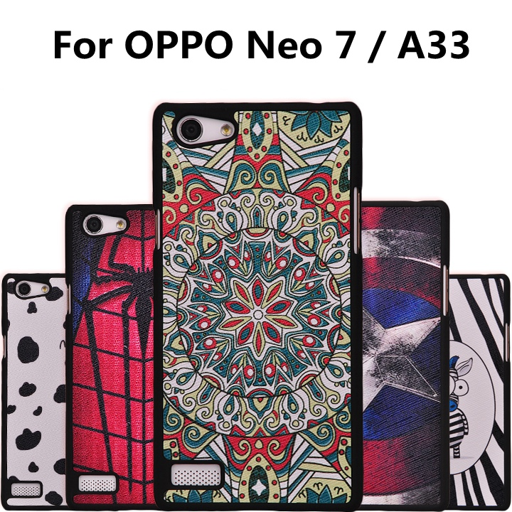 Top Quality Cartoon Pattern Hard Grind Arenaceous Cover Case For OPPO Neo 7 Luxury Mobile Phone Cases for OPPO A33 A33t(China (Mainland))